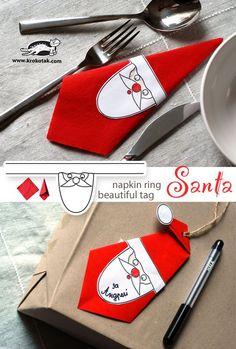 Santa - napkin ring and beautiful tag