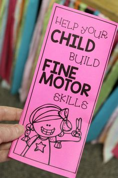 Come grab this FREE printable parent brochure that helps explain the importance of fine motor skills. Preschool Fine Motor Skills, Motor Skills Activities, Gross Motor Skills, Sensory Activities, Classroom Activities, Learning Activities, Sensory Rooms, Preschool Ideas, Teaching Ideas