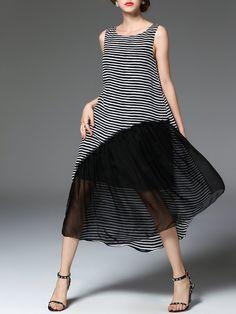 Shop Midi Dresses - Black Printed Sleeveless Midi Dress online. Discover unique designers fashion at StyleWe.com.