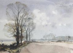 Rowland Hilder (1905 — 1993, UK) Rooks on a ploughed field. watercolour.