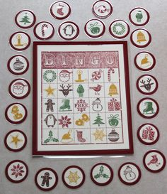 Cute Game idea for Christmas time.  Using Stampin' Up! Bingo and Jolly Bingo Bits Set