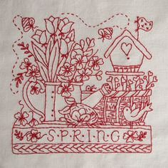 Redwork Embroidery Designs | The best traits of each season are stitched in RedWork quilt blocks.