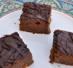 Flourless chickpea brownies - these are the most moist delicious brownies! I'm not even gluten free and I will make these over other brownies. Insane! I put too much maple syrup and they were a bit maple-ey. Could substitute Agave.