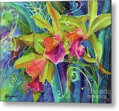 Orchid Series 14 Metal Print by Deborah Younglao