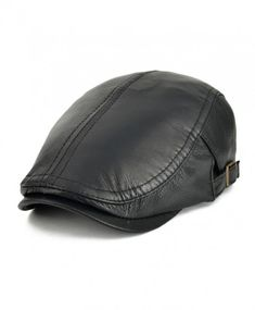 c0f68fb2cfd5f VOBOOM Men Women Adjustable Genuine Leather Ivy Cap Newsboy hat 121 - Black  - C317YY2ORYO News
