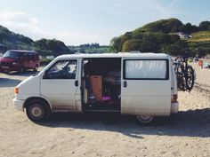 Our VW T4 Transporter at Maenporth, Falmouth. An extremely full van life. Natalie Coe @Lynn Helms Bear Bean