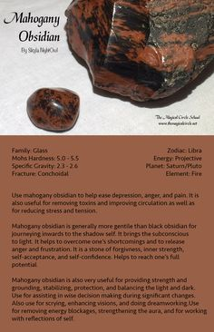 Mahogany Obsidian - by Skyla NightOwl - The Magical Circle School www.themagicalcircle.net