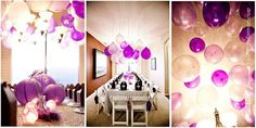 Hang balloons upside down with marbles in them instead of using helium