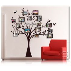 Family Tree With Pictures, Family Tree Art, Accent Wallpaper, Wall Decor, Room Decor, Photo Tree, Mural Art, Beautiful Wall, Tree Wall