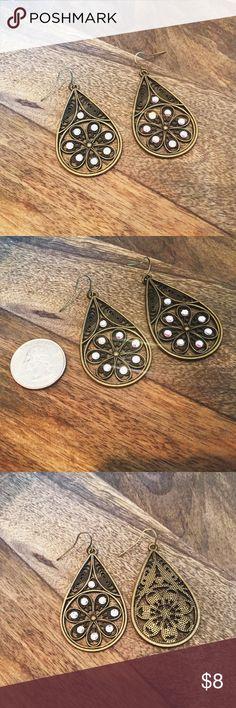 Spotted while shopping on Poshmark: Bronze & Crystal Filigree Earrings! #poshmark #fashion #shopping #style #Jewelry