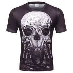 c58fbde6766 2017 New Style Men T-shirt Funny Print Astronaut Moon Skull  Space Galaxy  Quick Dry Summer Tops Tees Tshirts plus size