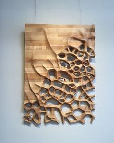 Wood Profits Wall hanging CNC milled Maple wood by NardineDesignStudio - Wall hanging, wood sculpture, Maple butcher block, organic motif Into The Woods, Wood Sculpture, Wall Sculptures, Organic Sculpture, Sculpture Ideas, Teds Woodworking, Woodworking Projects, 3d Cnc, Wooden Art