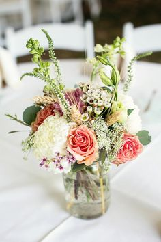 Love this color combination, the flower arrangement, the mason jar...