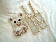 Conjunto de Crochê Urso artelinharj@gmail.com 62 98146.4188