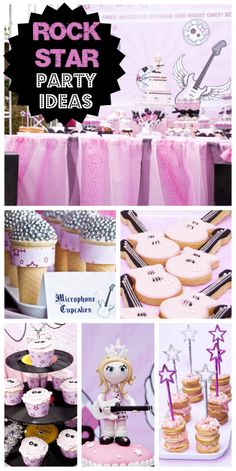 What a great pink and black Rockstar girl birthday party!  See more party ideas at CatchMyParty.com!