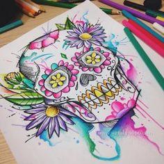 Mexican skull watercolor by Felipe Bernardes – skull tattoo sleeve Sugar Skull Painting, Sugar Skull Artwork, Future Tattoos, Love Tattoos, Art Tattoos, Compass Tattoo, Caveira Mexicana Tattoo, Los Muertos Tattoo, Candy Skulls