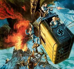 This documentary goes on location in the Austrian Alps for the filming of the movie Where Eagles Dare starring Richard Burton and Clint Eastwood. Pulp Fiction Art, Pulp Art, Movie Poster Art, Film Posters, Westerns, Where Eagles Dare, 70s Sci Fi Art, Mystery, Military Art