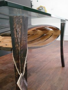 Coffee table made out of wine barrel staves