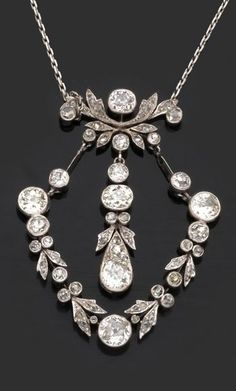 a belle epoque platinum and diamond draperie pendant circa 1900 belleepoque