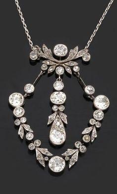 A Belle Epoque platinum and diamond 'draperie' pendant, circa 1900. #BelleEpoque #pendant
