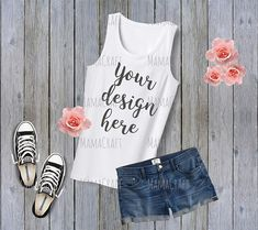 MOCK Up WOMEN sleeveless TANK Top blank white png and jpeg