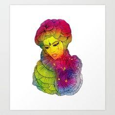 Rainbow Flower Girl Art Print by Luna Portnoi