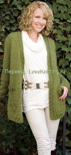 """Кардиган """"Зеленая богиня"""" (вязание спицами)"""