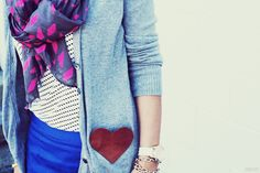 DIY faux-leather heart cardigan pockets!