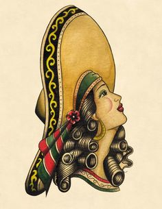 Charra by Lil Chris Mexican Rodeo Cowgirl Tattoo Canvas Art Print