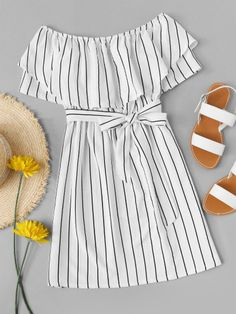 Striped striped A-line dress with belt -French Romwe Gestreiftes Kleid in A-Linie mit Gürtel – French Romwe – Cute Girl Outfits, Cute Summer Outfits, Cute Casual Outfits, Girly Outfits, Outfits For Teens, Pretty Outfits, Stylish Outfits, Dress Outfits, Casual Dresses For Teens