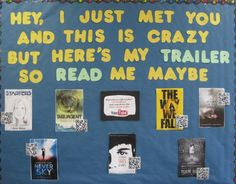 Borrowed this idea from a pin created of Comsewogue Public Library's display.  Great summer time display - Carly Rae Jepsen's Call Me Maybe and book trailers.