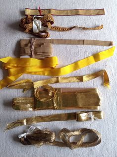 Golden Metallic Braids & Yellow Grosgrain Bullion Work Tapes Ecclesiastical Arts Deco Period Costume by BrocanteArt on Etsy