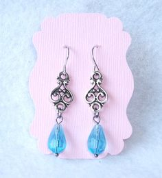 Aqua Crystal and Silver filigree earrings by InspiredByKarma, $12.00  SOLD