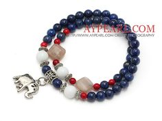 beautiful round lapis white sea shell sunstone and bloodstone beaded bracelet with elephant pendant