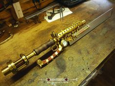 I found this amazing steampunk tesla blade! It's made from repurpossed brass parts, copper pipe and wire. Just a really great job!
