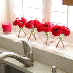 Costco Garden Roses in Bud Vases for Kitchen Window Sill Decor | Redefining Domestics