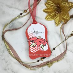 shirley-bee's stamping stuff: Poinsettia Tag Bees Knees, Poinsettia, Stamping, Christmas Ornaments, Tags, Holiday Decor, Stamping Up, Christmas Ornament, Scrapbook Stamping