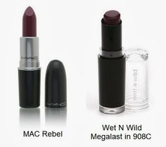 Dupe for MAC Rebel Lipstick - A list of drugstore make-ups that are duplicates of department store brands
