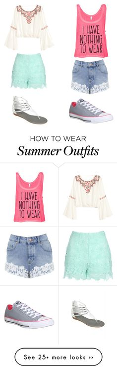 """""""Summer's Still In Session"""" by softballfashion on Polyvore featuring Jane Norman, H&M, Miss Selfridge and Converse"""