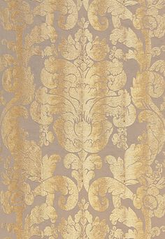 Zelda Damask Schumacher Fabric: Color Gilt/Pewter Line/Silk