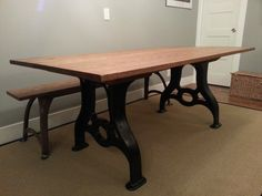 Industrial Antique Machine Base Table Handmade. $2,500.00, via Etsy.