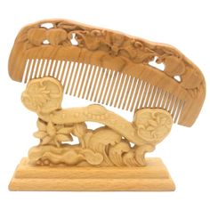 YOY Natural Wood Hair Comb - Handmade Antistatic No Snag Brush for Men's Mustache Beard Care Anti Dandruff Women Girls Head Hair Accessory, Peach -- Check this awesome product by going to the link at the image.