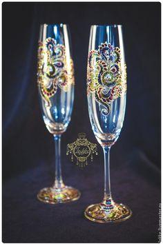 "Бокалы, стаканы ручной работы. Бокалы для шампанского ""Мардигра"". Lokke. Ярмарка…"