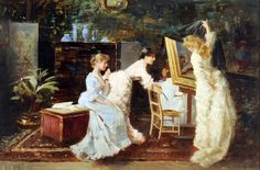 The Private View.Alexander Mark Rossi(British 1840-1916). In total, Rossi exhibited 66 paintings at the Royal Academy between 1871 and 1903 and 47 at the Royal Society of British Artists between 1870 and 1893. He was most successful as a genre painter of charming domestic scenes, often involving children and young adults, and regularly used members of his family as models.