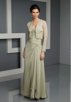 Chiffon and Lace Spaghetti Straps Empire A-line Long Mother Of The Bride Dress with Removable Long Sleeves Jacket - Mother of the bride - WHITEAZALEA.com