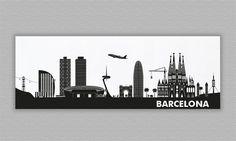Skyline BARCELONA - Acrylglas - 84 x 30 cm