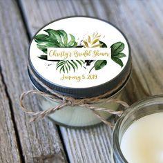 12 - 4 oz Candle Jars//Tropical Green & Gold Leaf Bridal Shower Favor//Bridal Shower Favor