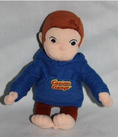 Curious George beanbag plush character made by Marvel Toys in George is wearing a removable blue hoodie with his name printed on the front. George is in very good condition with tush tags attached. Curious George, Blue Hoodie, Bean Bag, Smurfs, Monkey, Daisy, Plush, Teddy Bear, Marvel