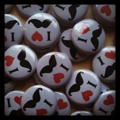 """15 I love mustache - I heart Mustache - Mustache Party Pin Back, Flat Back, or Hollow Back Buttons moustache - 1"""" Buttons. $5.75, via Etsy."""