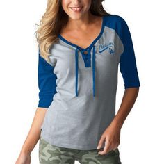 Los Angeles Dodgers Touch by Alyssa Milano Women's Perfect Game 3/4-Sleeve T-Shirt - Gray/Royal